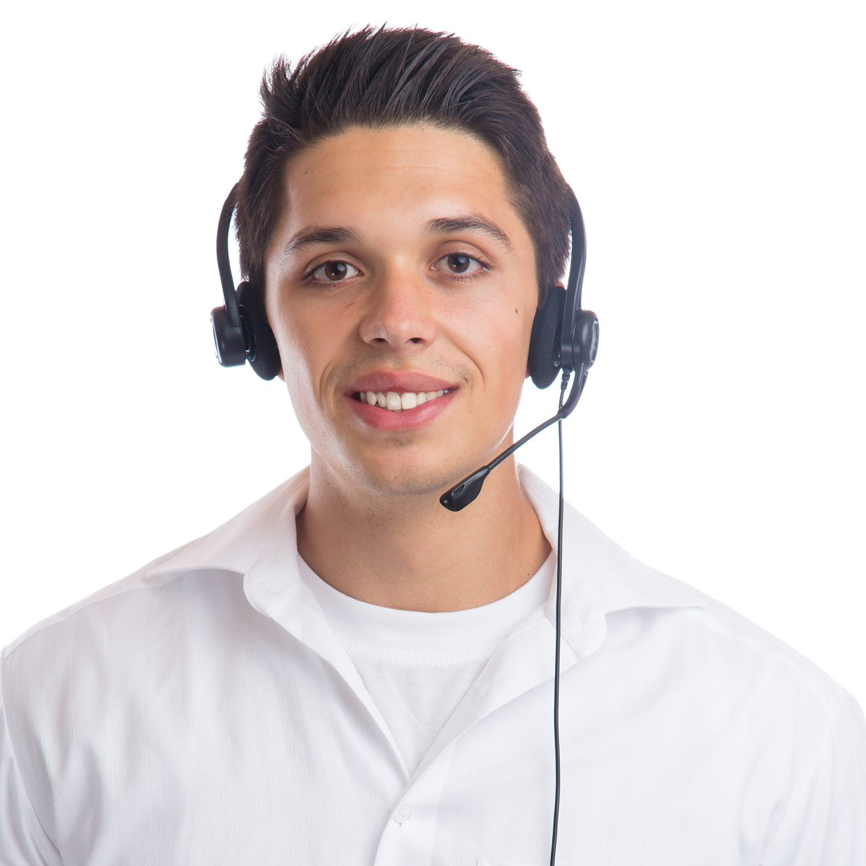 Call center agent team headset telephone phone secretary business isolated on a white background